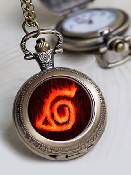 Milanoo Naruto Konoha Quartz Pocket Watch Anime Cosplay Prop
