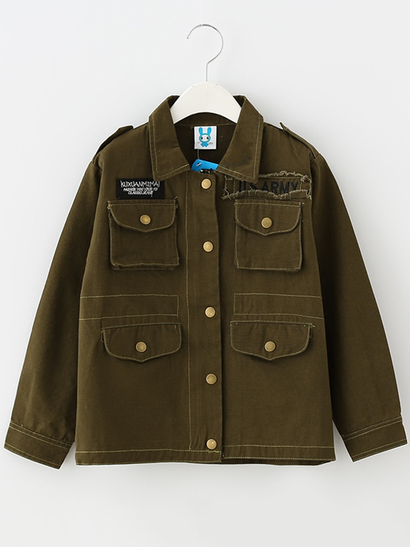 Ericdress Lapel Pockets Buttons Line Zipper Girl's Jacket