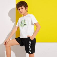 Boys Letter and Tropical Print Tee and Track Shorts Set
