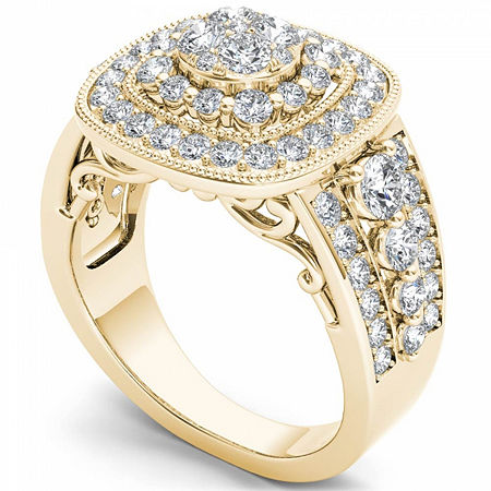 Womens 1 1/2 CT. T.W. Genuine White Diamond 14K Gold Engagement Ring, 6 , No Color Family