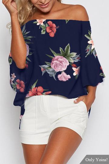 Yoins Navy Random Floral Print Off The Shoulder Slit Blouse