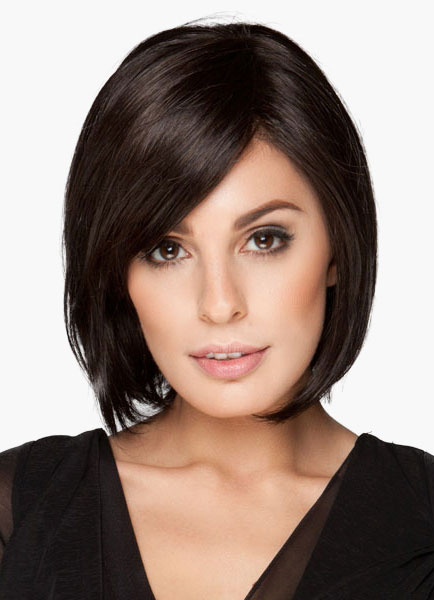 Milanoo 14-Inch Side Parting Women's Short Bobs Wig In Natural Black