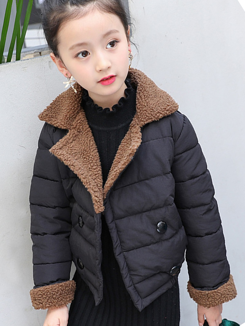 Ericdress Woolen Patchwork Girls' Cotton-padded Jacket