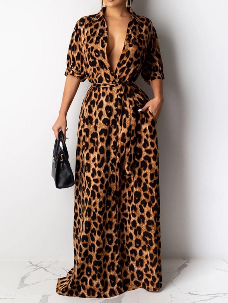 Ericdress Floor-Length Print Half Sleeve Fashion Leopard Dress