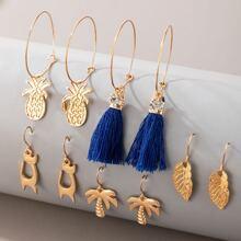 5pairs Tassel & Tree Charm Drop Earrings