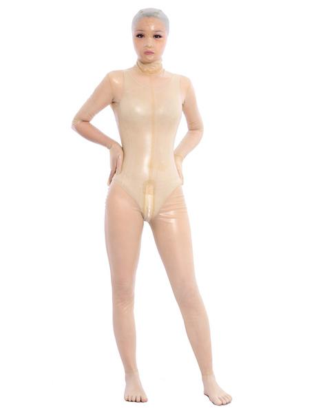 Milanoo Halloween Sexy Transparent Latex Bodysuit Opened Eyes Unisex Zentai Suit Halloween