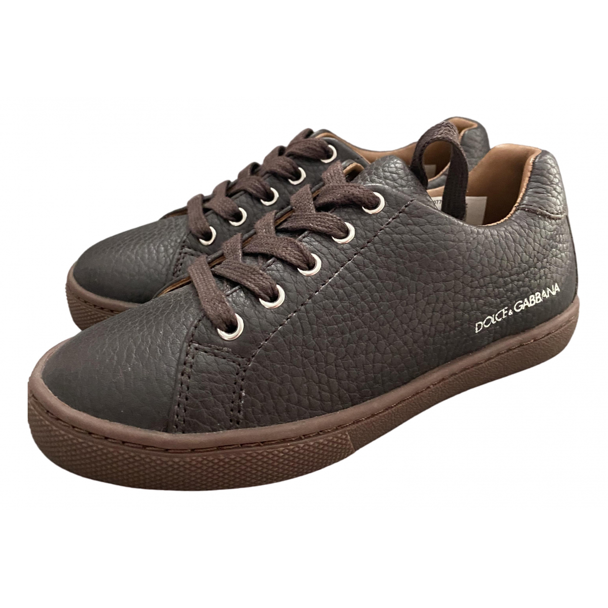 Dolce & Gabbana \N Brown Leather Trainers for Kids 28 FR