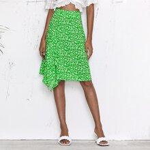 Ditsy Floral Print Draped Detail Skirt