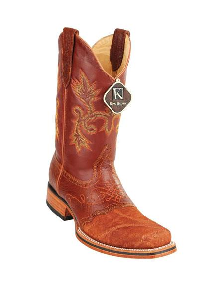Men's King Cognac Square Toe Genuine Elephant Skin Boots Handcrafted
