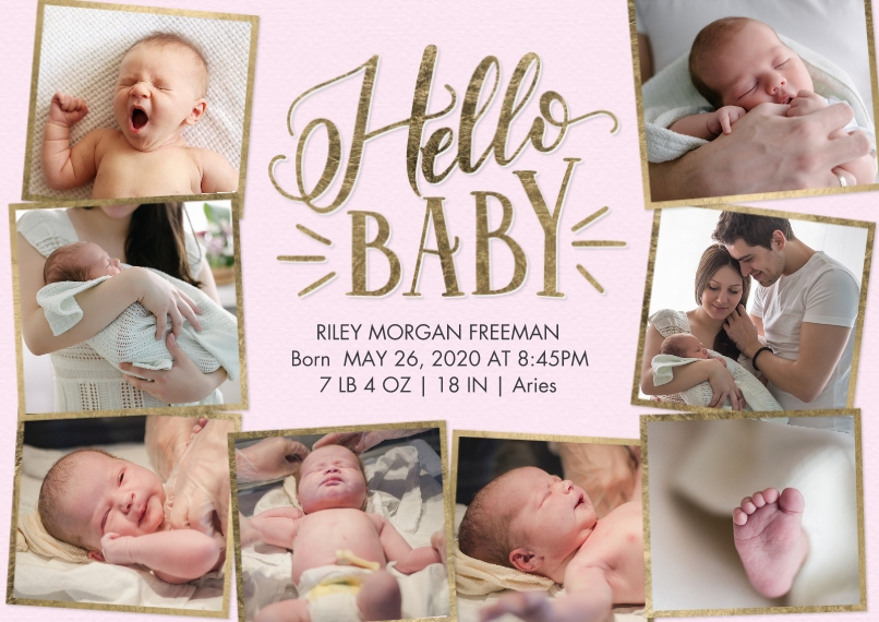 Baby Announcements 5x7 Cards, Premium Cardstock 120lb with Elegant Corners, Card & Stationery -Baby Hello Snapshots by Tumbalina
