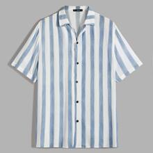 Men Button Front Striped Shirt