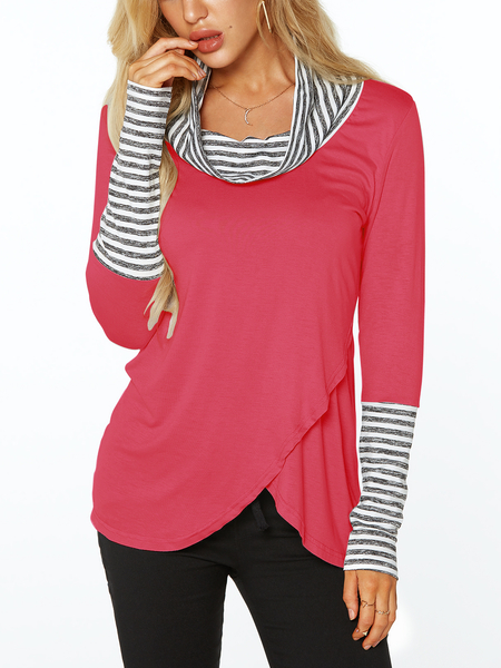 Yoins Rose Roll Neck Stripe Details Overlay Front T-shirts