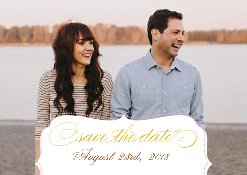 Save the Date 5x7 Cards, Premium Cardstock 120lb with Scalloped Corners, Card & Stationery -Posh Paper Save The Date Sophisticate