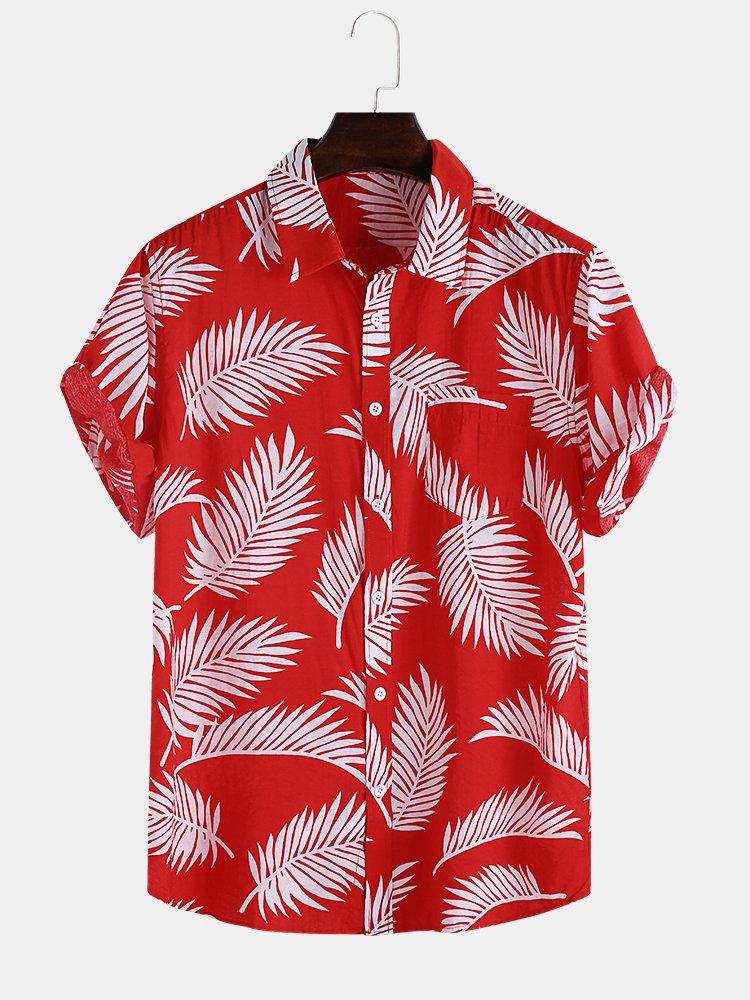 Mens Hawaiian Leaf Printed Short Sleeve Casual Shirts