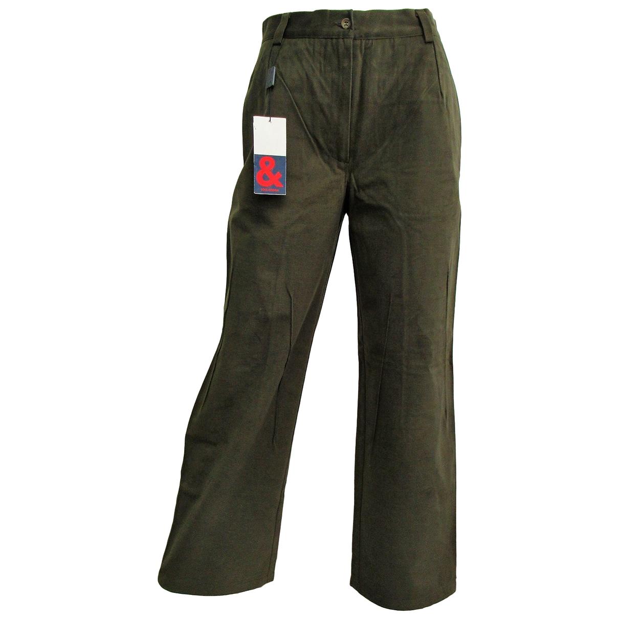 Dolce & Gabbana \N Khaki Cotton Trousers for Women 46 IT