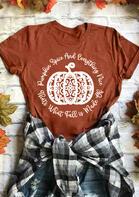 Fall Pumpkin Spice Thanksgiving T-Shirt Tee - Brick Red