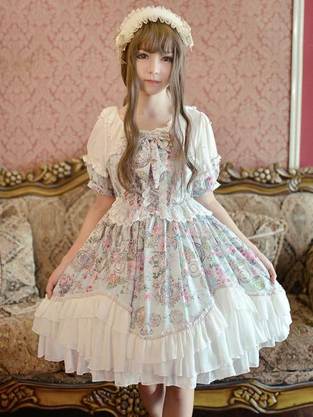 Milanoo Sweet Lolita Dress OP Pink Chiffon Printed Puff Short Sleeve Ruffle Lolita One Piece Dress Original Design