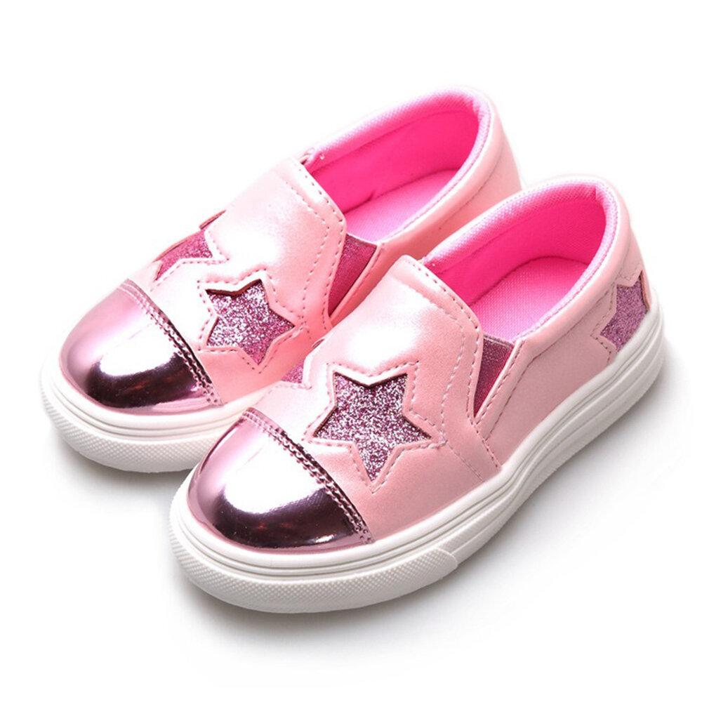 Girls Bling Stars Decor Slip On Comfy Lazy Flat Shoes
