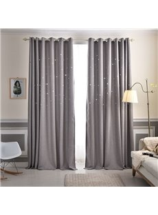 Solid Grey High Quality Star Hollowed-out Custom Grommet Top Curtains