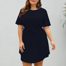 Plus Curved Hem Belted Tee Dress