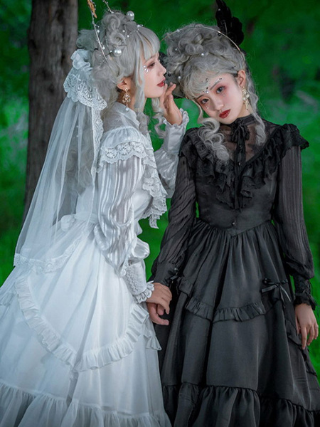 Milanoo Classic Lolita OP Dress Neverland Lace Ruffle Oraganza White Lolita One Piece Dress Original Design