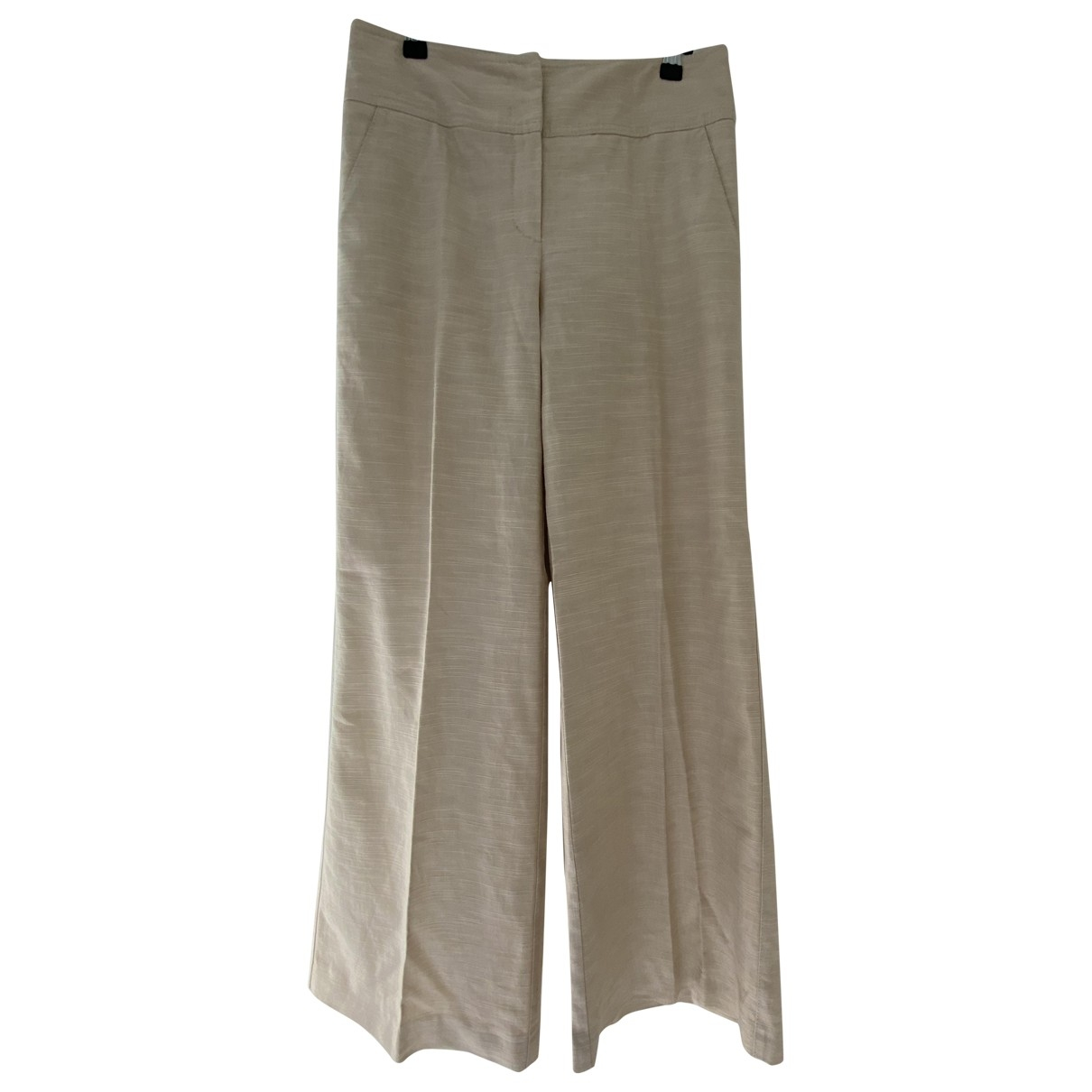 Red Valentino Garavani \N Beige Linen Trousers for Women 42 IT