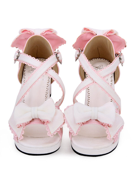 Milanoo Sweet Lolita Sandals Bow Frill Strappy Two Tone PU High Heel Lolita Shoes