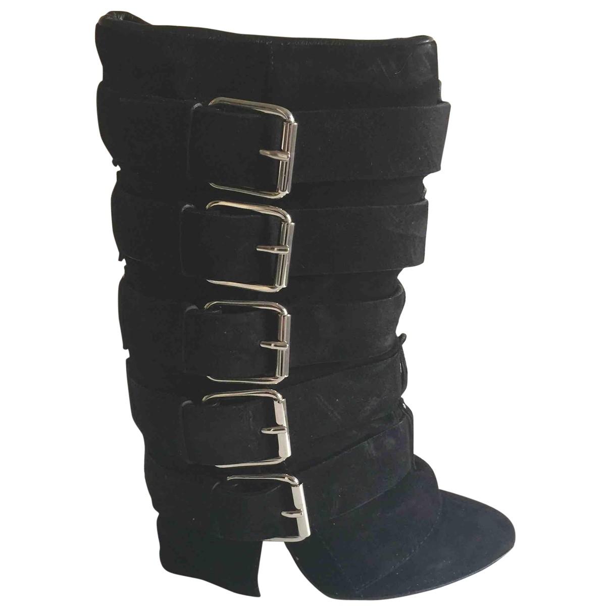 Giuseppe Zanotti X Balmain \N Black Suede Boots for Women 37 EU