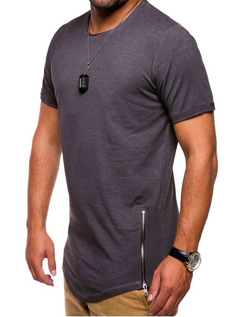 Ericdress Plain Casual Men's Slim Short Sleeve T-shirt