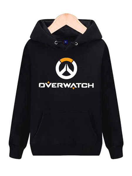 Milanoo Overwatch OW Logo Black Cotton Blend Hoodie Blizzard Video Game Hoodie Halloween