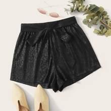 Tie Front Leopard Jacquard Shorts