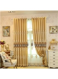 Classical Embroidered Damask Pattern Custom Grommet Top Sheer Curtain