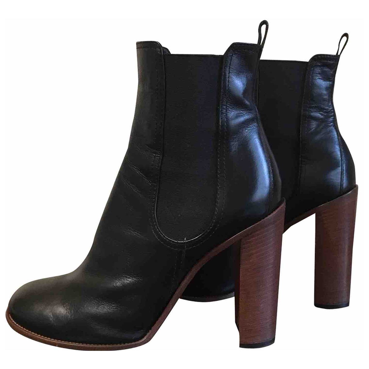 Celine \N Black Leather Ankle boots for Women 39.5 EU