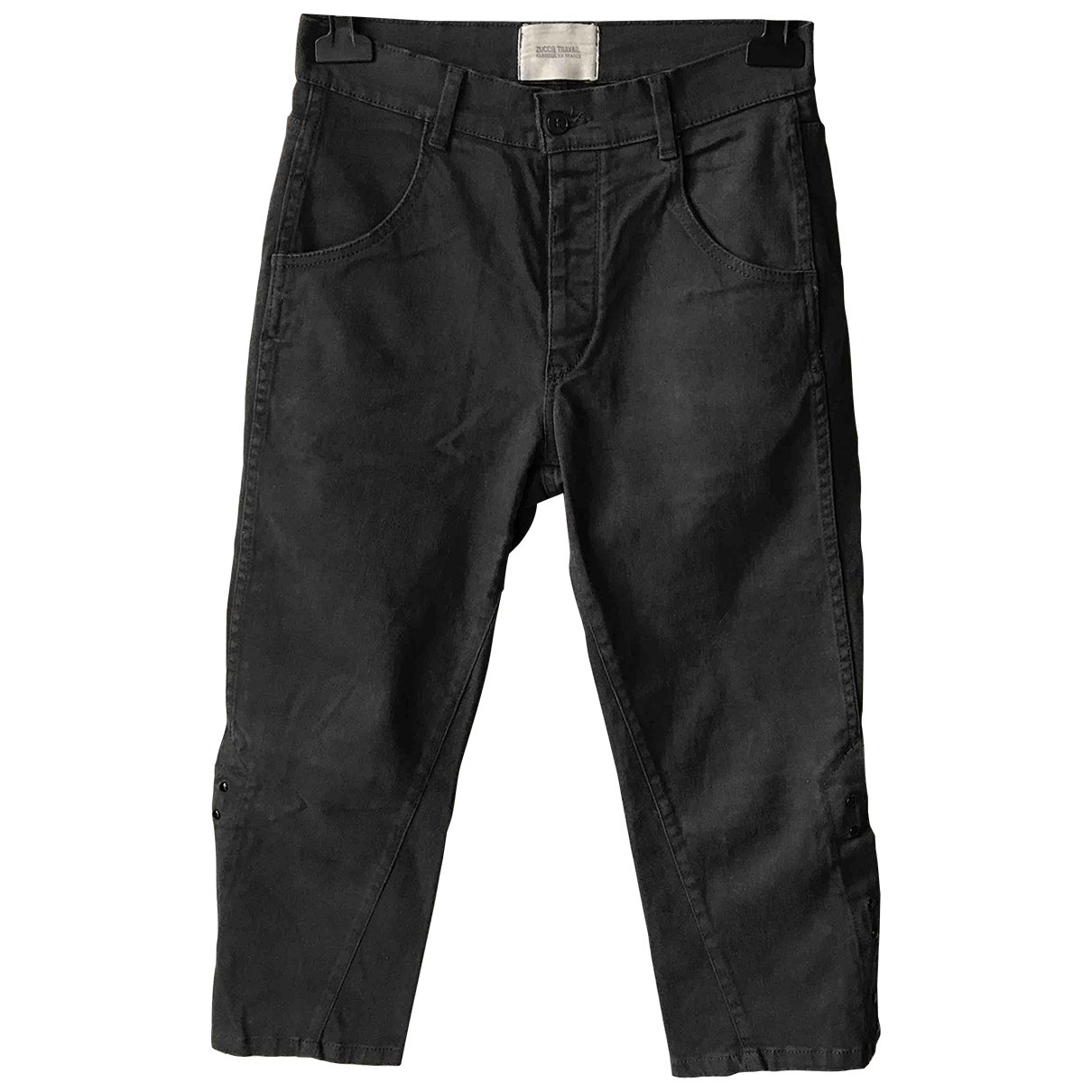 Non Signé / Unsigned \N Black Cotton Trousers for Women 0 0-5