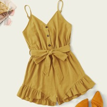 Plus Button Detail Belted Ruffle Hem Cami Romper