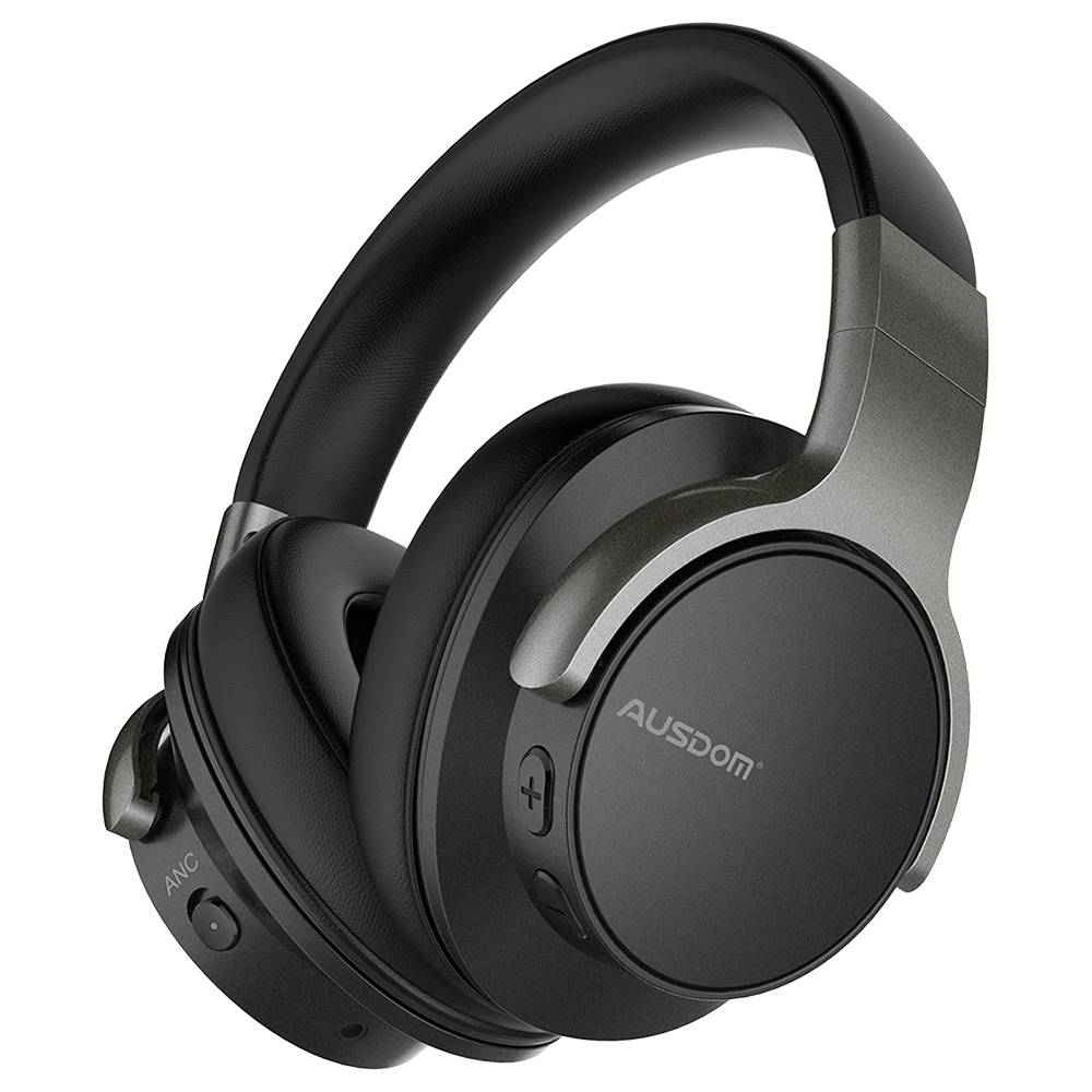 AUSDOM ANC8 3.5mm Bluetooth Headset Active Noise Cancelling HiFi Bass Stereo with Mic 20 Hours Playtime - Black