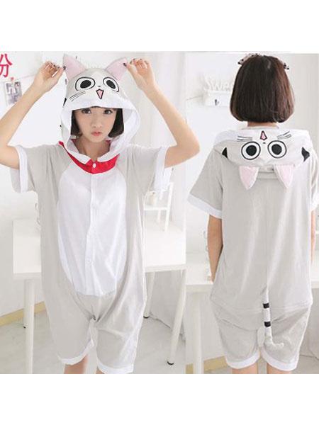 Milanoo Kigurumi Pajamas Cats Onesie Light Grey Short Summer Animal Sleepwear For Adults