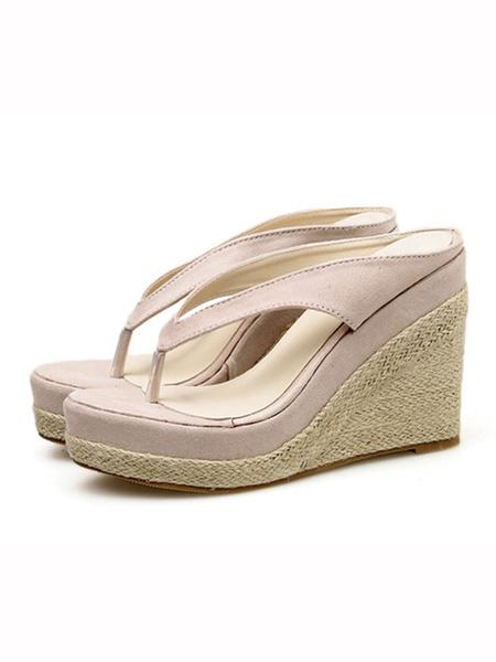 Milanoo Womens Flip Flops Black Thong Backless Wedge Sandal Platform heels Slippers