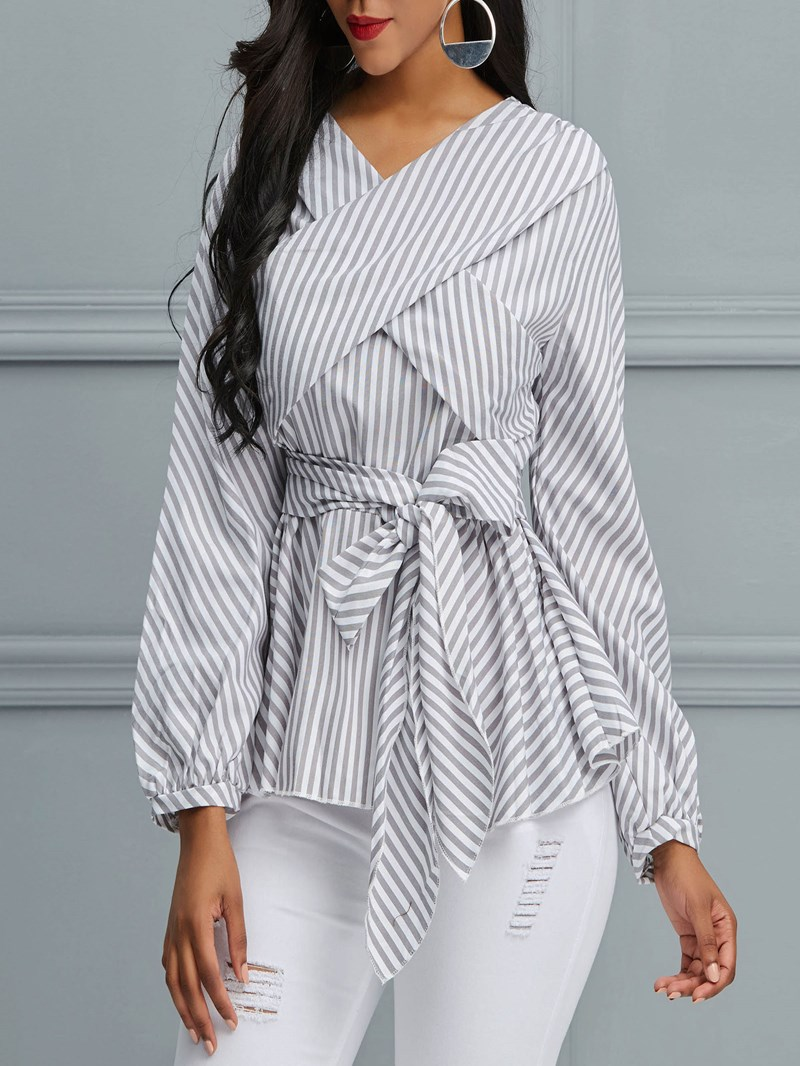 Ericdress Wrap Ruffles Stripe Lace-Up Blouse
