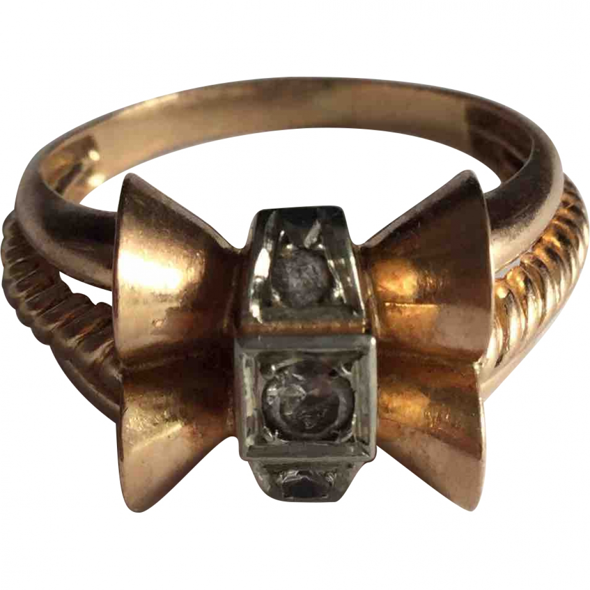 Non Signé / Unsigned Art Déco Gold Pink gold ring for Women 61 MM