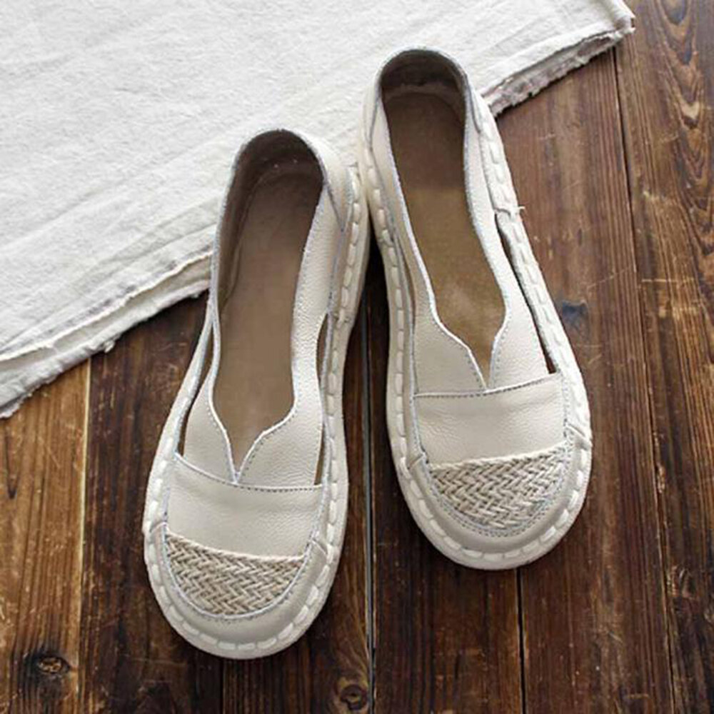 Plus Size Women Loafers Round Toe Casual Hollow Stitching Slip-on Flats