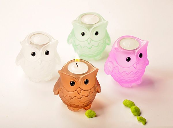 Creative Cute Owl Design Glass Candle Holder