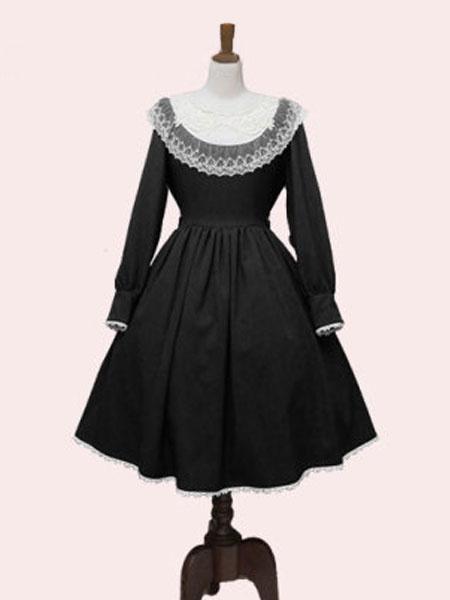 Milanoo Classic Lolita OP Dress Lace Two Tone Pleated Black Lolita One Piece Dress
