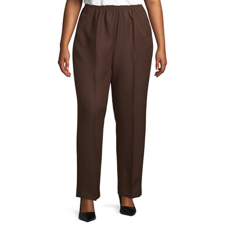 Alfred Dunner Womens Straight Pull-On Pants, 22w Short , Brown