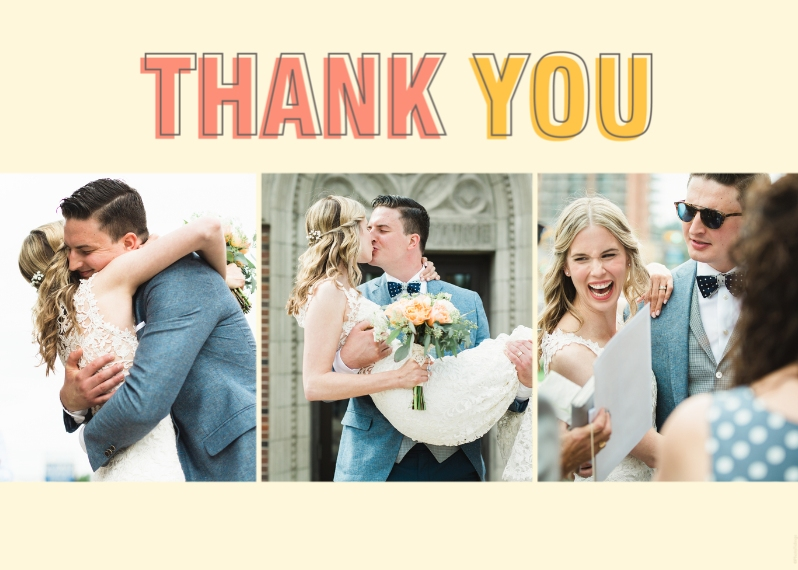 Wedding Thank You 5x7 Folded Cards, Premium Cardstock 120lb, Card & Stationery -Thank You