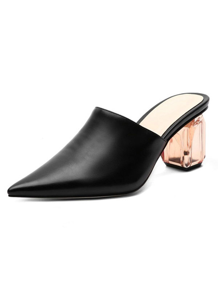 Milanoo Women Mules & Clogs PU Leather Black Pointed Toe Slip-On Chunky Heel Casual Shoes