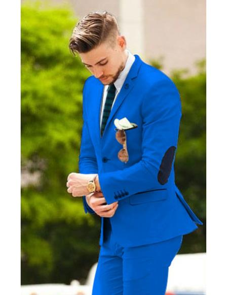 Mens Royal Blue suit with elbow patches (Slim Fit or Regular fit)