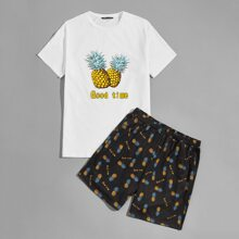Men Pineapple and Letter Graphic Tee & Shorts PJ Set