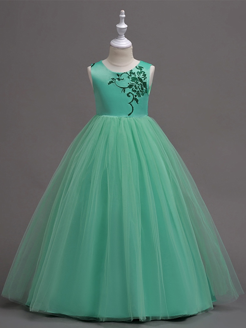 Ericdress Embroidery Mesh Patchwork Girl's Ball Gown Dress