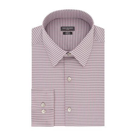 Van Heusen - Super Slim Mens Point Collar Long Sleeve Stretch Dress Shirt, 17 34-35, Pink